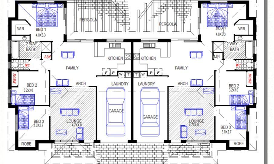 Duplex Kit Home Plan 234DUK 234.2m2 6 Bedrooms 2 Bath 2