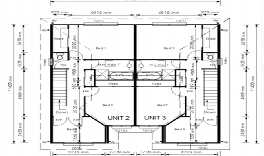 Duplex Kit Home Plan 380TH 380m2 12 Bedrooms 4 Bath 5