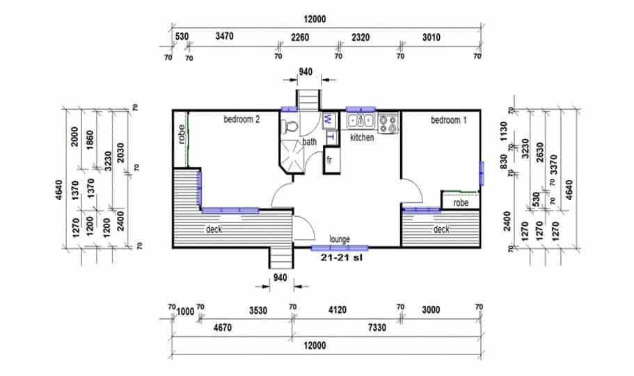 Granny Flat Kit Home Design 55B 01